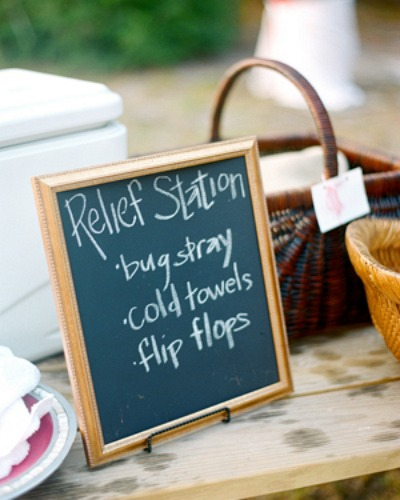 Don't forget the essentials: Good ol' bug spray is a must, and chilly wet towels will be a welcome treat on a super-hot day. See more at Southern Weddings »