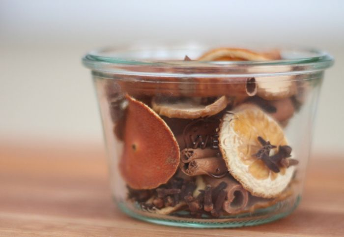 Make your own potpourri with dried citrus, cloves, and star anise.  Get the tutorial at Julie Blanner.