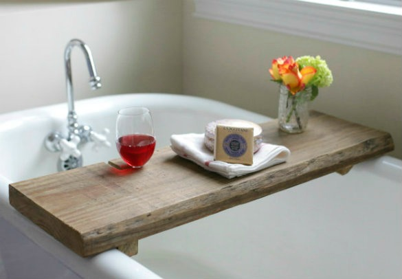 The finished product adds an element of warmth and relaxation to a soaker tub. And a handy notch means you don't even have to hold your wine glass. Get the tutorial at 17 Apart »