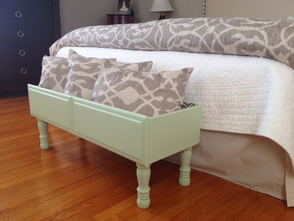One of the dresser drawers turned into extra storage that can hold pillows, books, or even kids' toys at the foot of a bed. The other half became a chic console table. Get the tutorial at Two It Yourself »