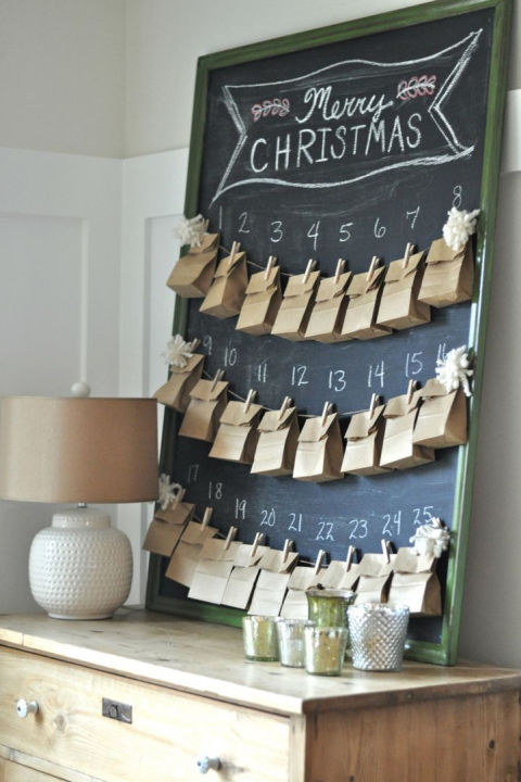 To teach her kids about the true meaning of the holidays, this blogger designed a calendar that counts down to Christmas with daily acts of kindness instead of gifts. Get the tutorial at Between You & Me. What you'll need: Large chalkboard frame ($50, amazon.com); Paper bags ($8, amazon.com); Clothespins ($8, amazon.com)