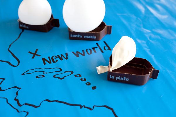 Kids will have a blast (and a friendly competition) with this homemade ship-race game from Brittany of One Charming Party. The miniature Nina, Pinta, and Santa Maria are constructed from painted milk or orange juice cartons—and propelled by balloons! Complete How-To: Ship Race