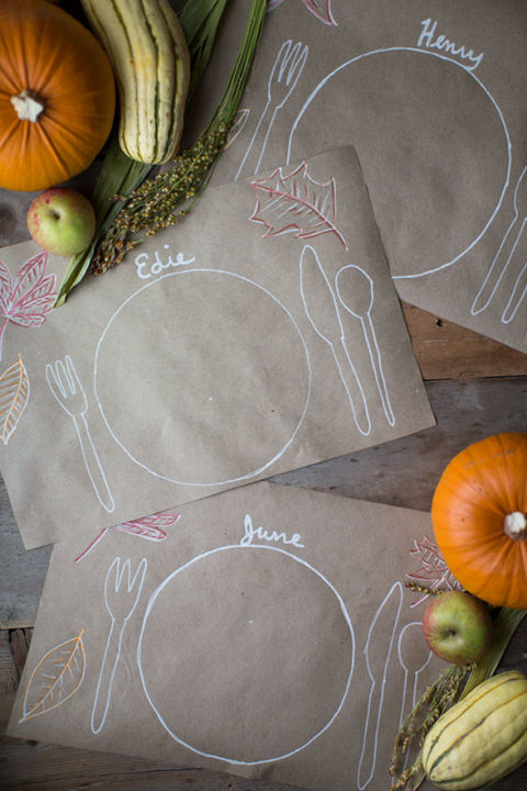 These crafty placemats double as name cards—and just might inspire an impromptu art party! Don't forget the chalkboard marker. Get the tutorial at Say Yes.