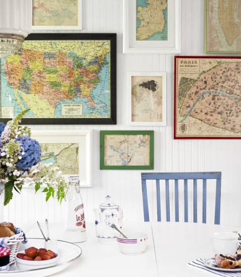 Country Living. collections. In this New York beach house, inexpensive framed maps creatively chronicle the family's travels.