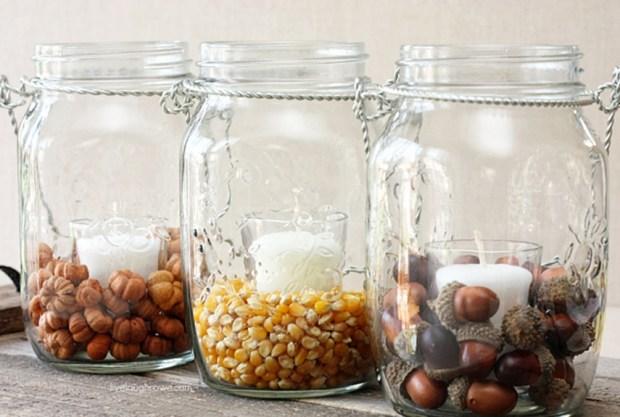 Mason Jar Decorations Fall Autumn Seeds Pumpkin Corn Acorns Candles