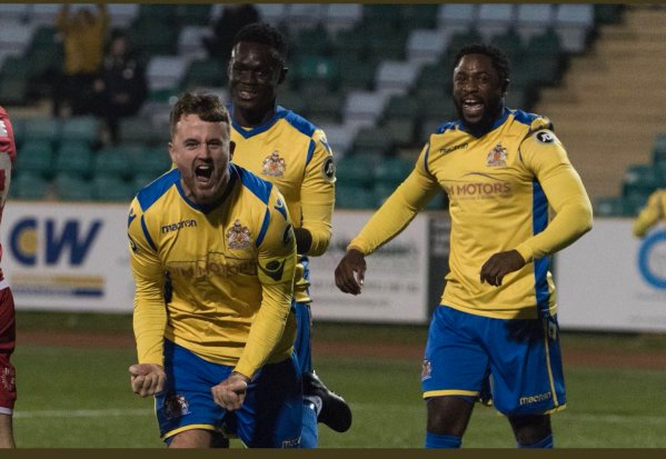 Jordan Cotterill celebrates his goal against Connah's Quay