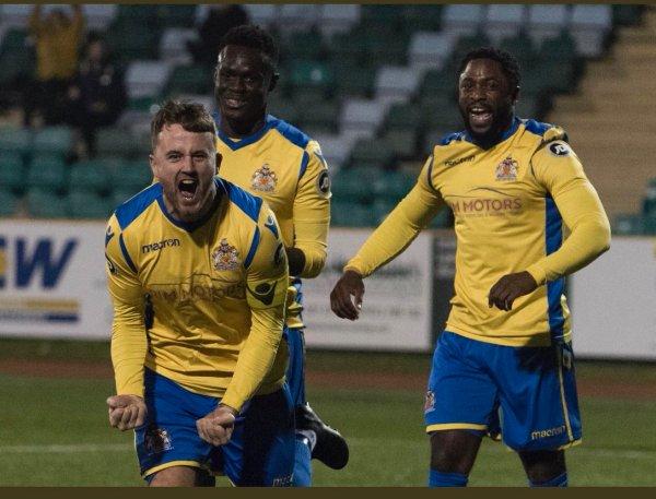 Jordan Cotterill celebrates his goal against Connah's Quay