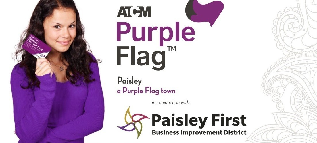 Paisley's Purple Flag student discount card flies with students