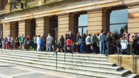 Queuing up outside Paisley Town Hall