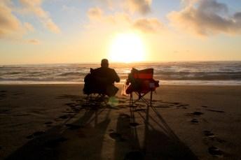sunset dinner on Gold Bluffs beach