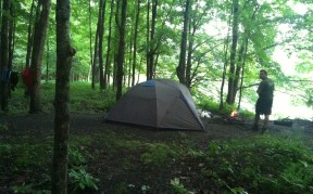 clothes drying, new tent, wet campfire, nice view