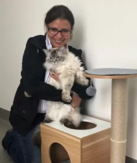 vet dr irene mitry with white cat care