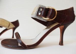 Sandales Christian Dior cuir et corde dorée