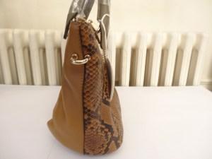 Sac Chloé BAYLEE cuir et python marron