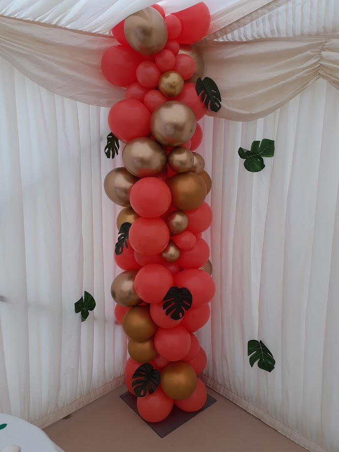 Gold, Black and Coral Balloon stand
