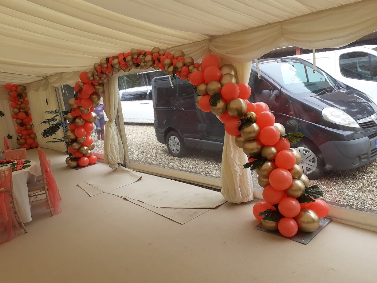 Gold, Black and Coral Balloon Arch