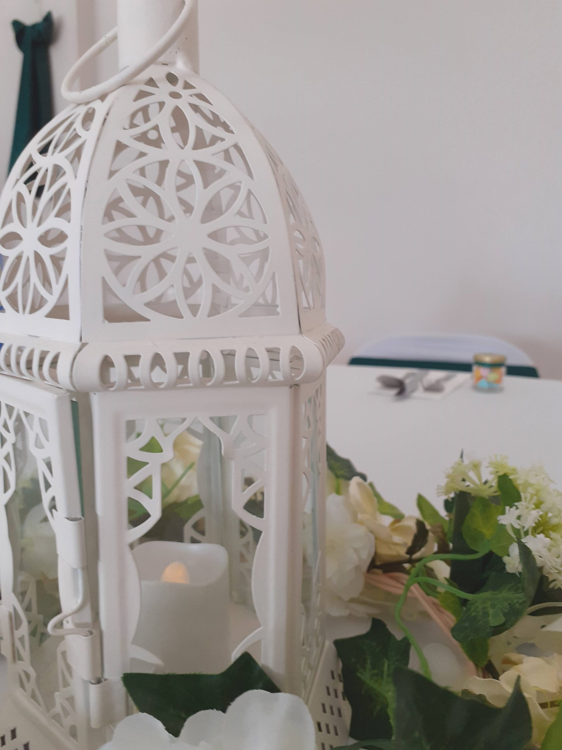 Lantern, Candle and Flowers