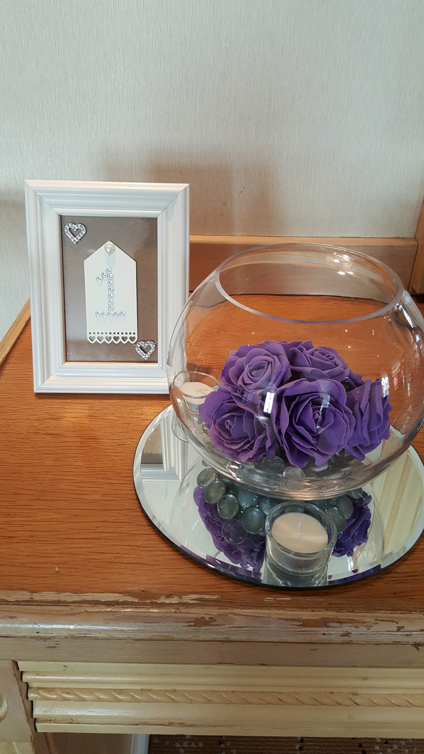 Purple Rose fish Bowl Table center with Table number, mirrors and Candles