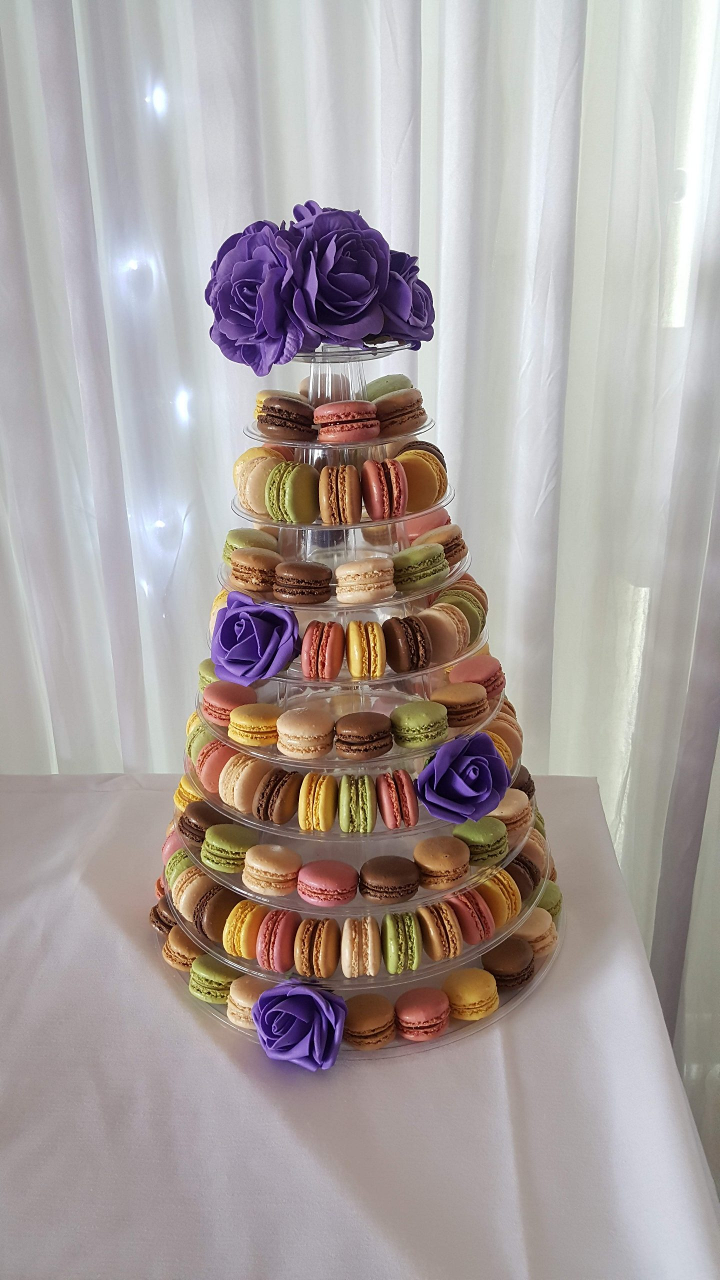 Fresh Macaroons Tower and Rose flowers