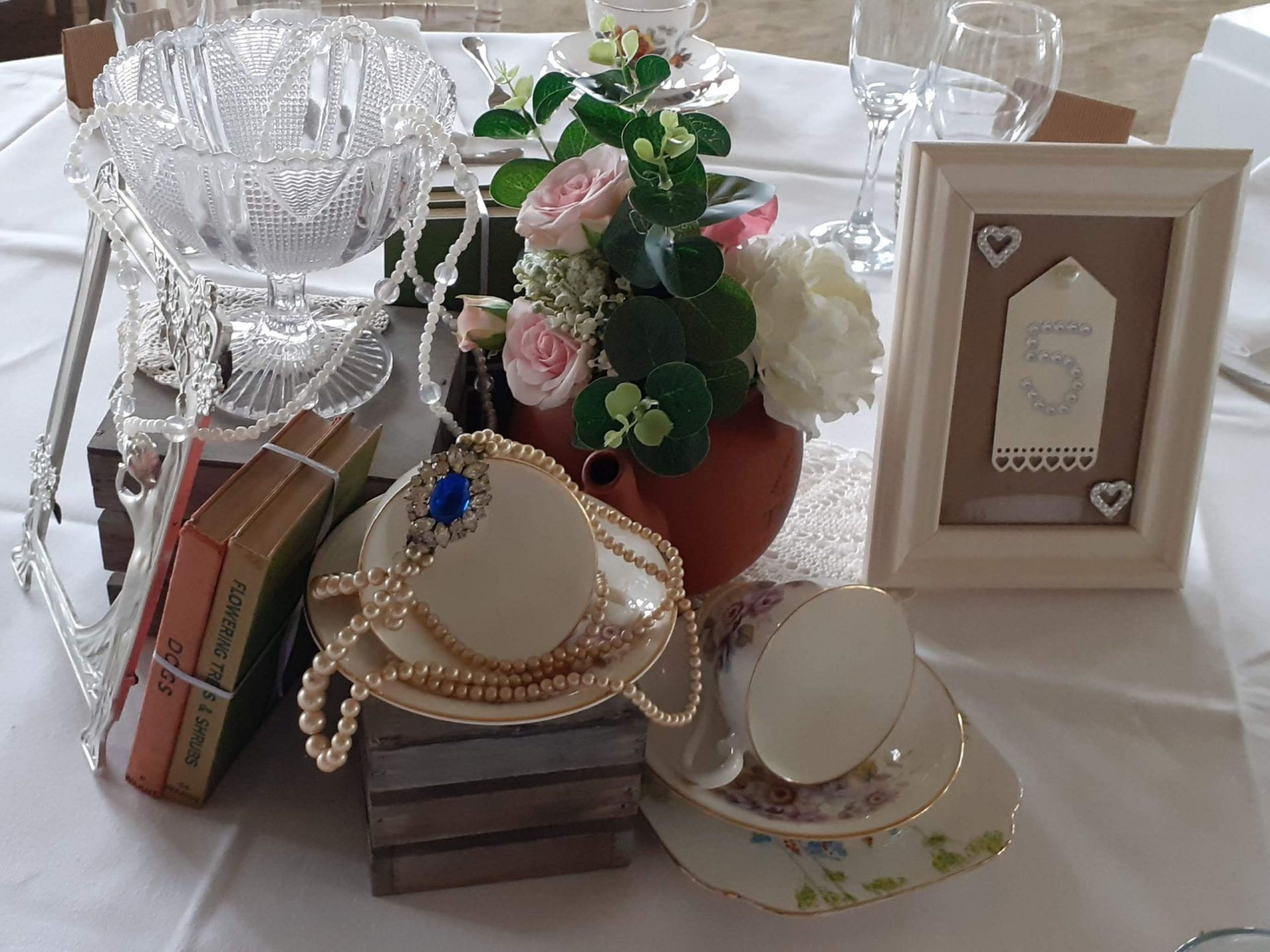 Vintage Inspired Table Center with Table Number