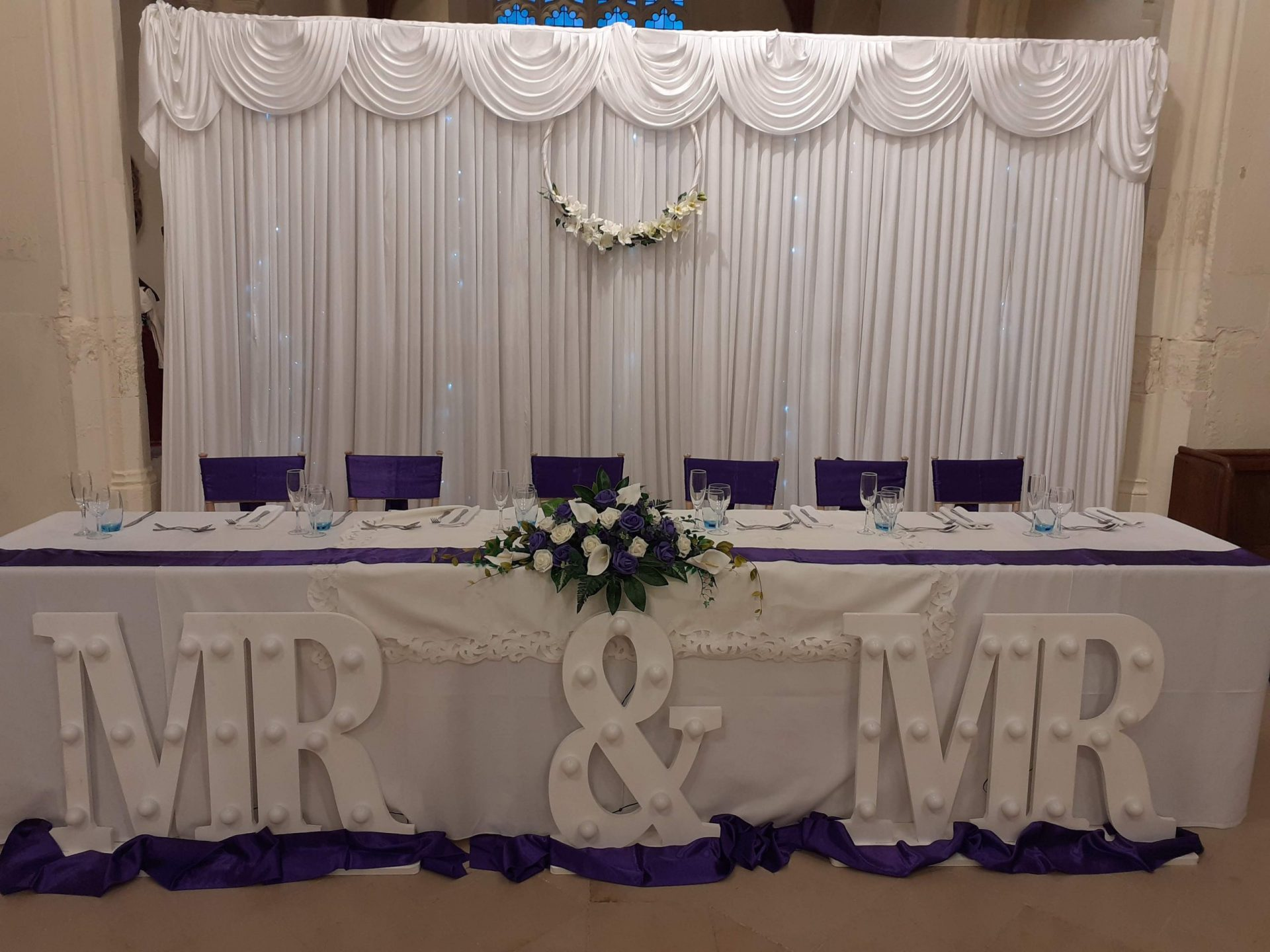Mr & Mr Sign, Back drop with Purple Satin Theme