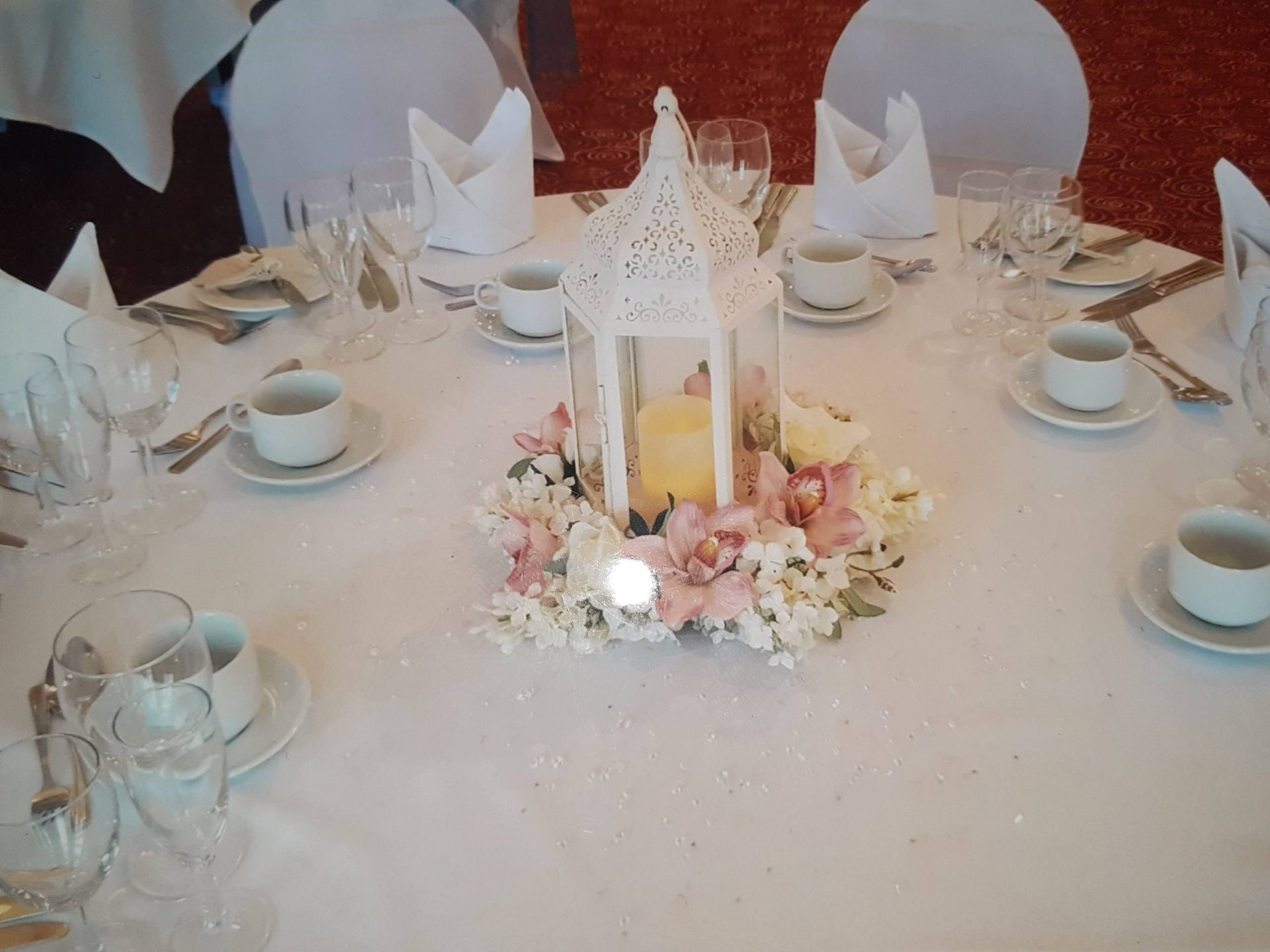 Lantern with Candles and Pink Table Centers