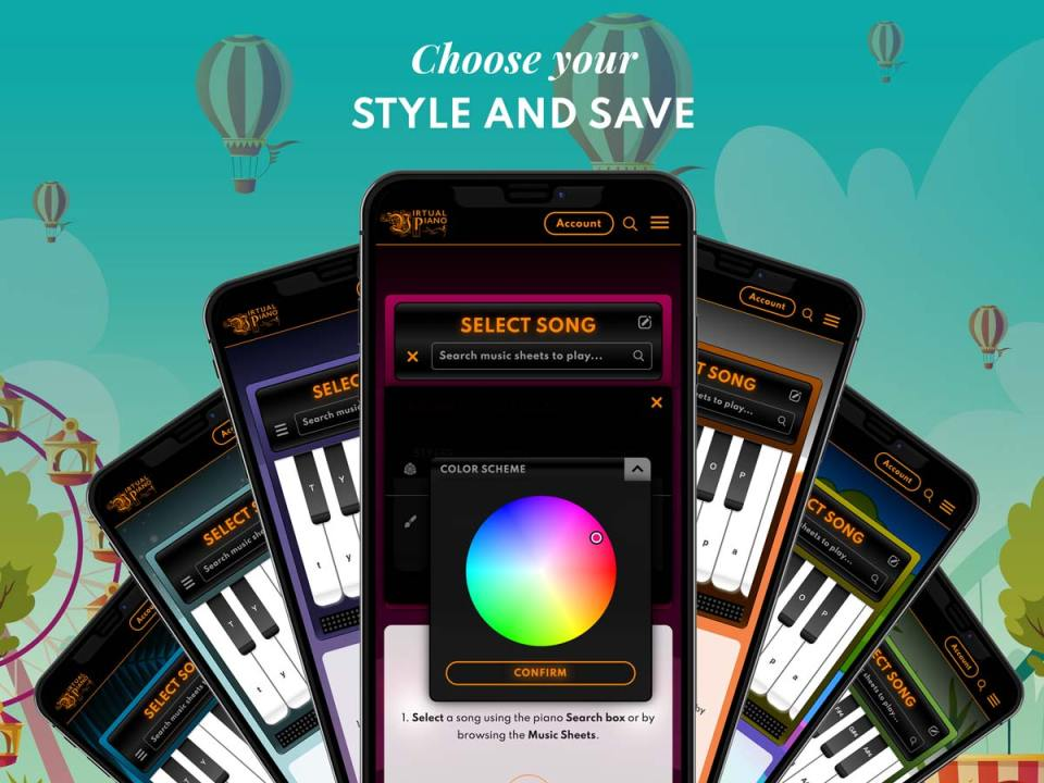 Choose your piano style, Virtual Piano