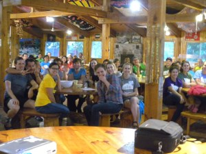 Picture of first and second year residents in the Queen's University family medicine program, during their annual retreat at Camp Oconto, near Sharbot Lake