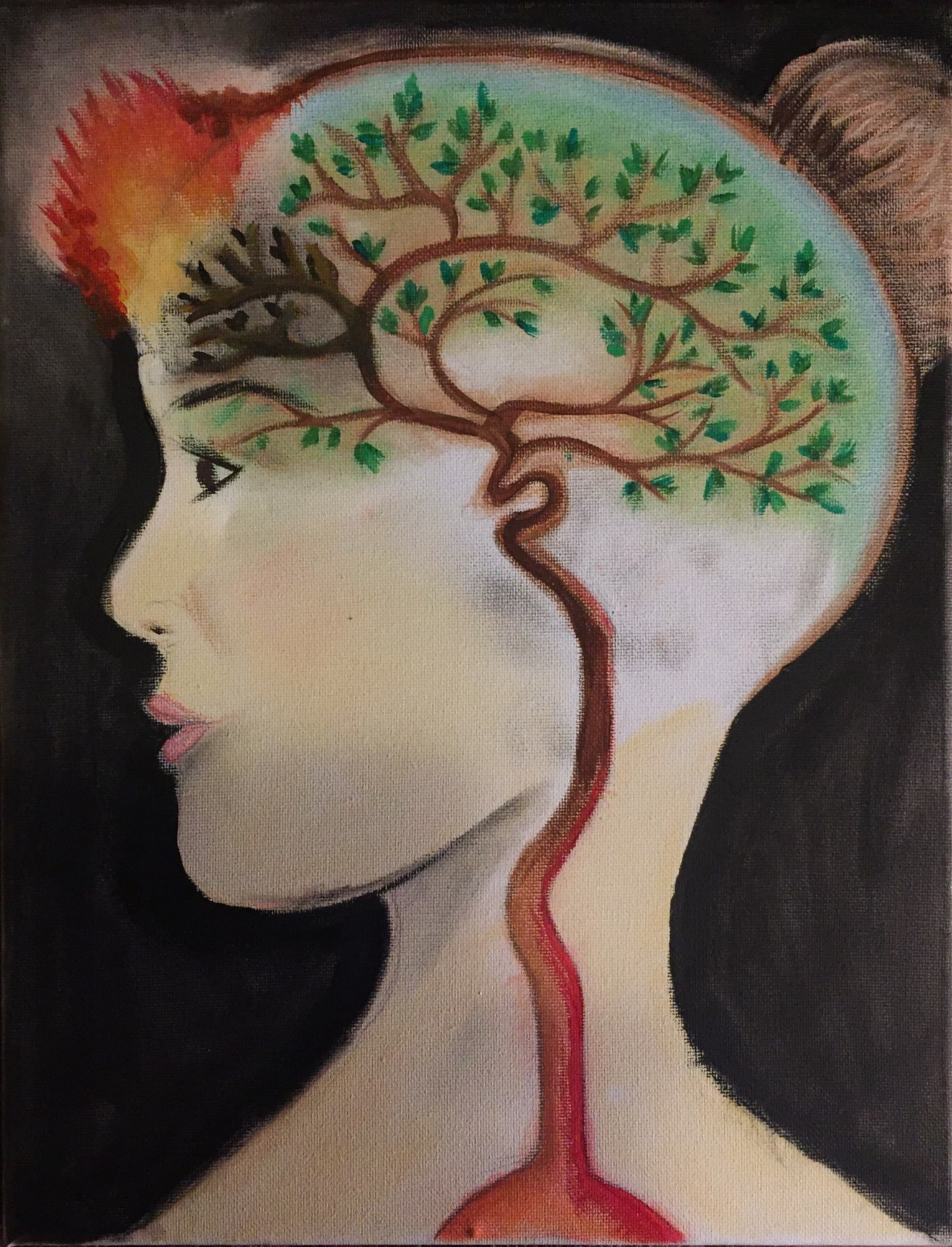 Painting of a woman's head. In her brain is a tree, with branches, mimicking blood vessels. Her forehead has flames shooting out.