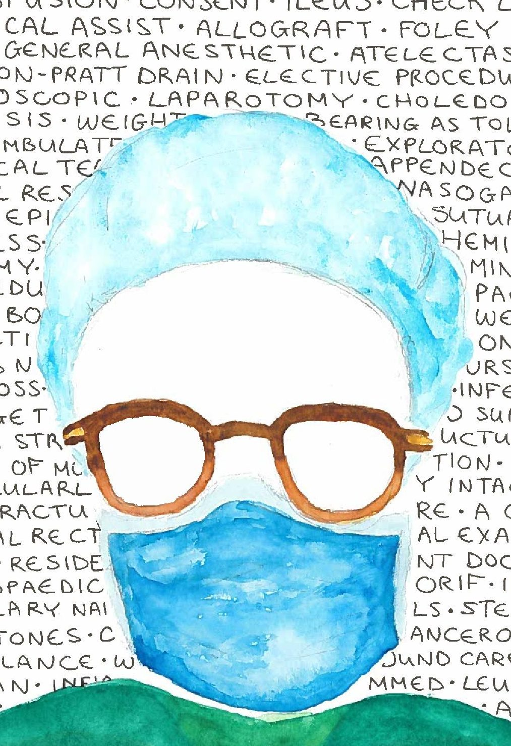 An illustration of a surgeon's face - eyes and face are white and left blank on the page. Surgical words in the background.