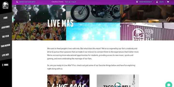 Taco Bell Live Mas Page