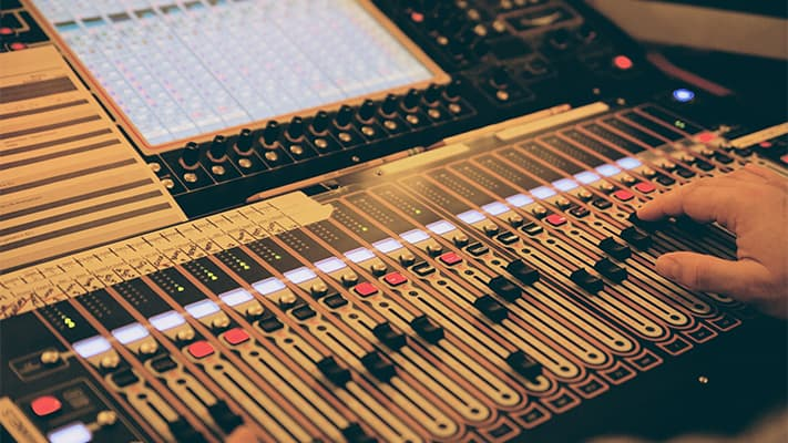 digital sound board being operated