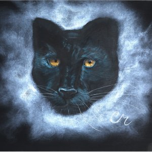 acrylic painting of a black panther