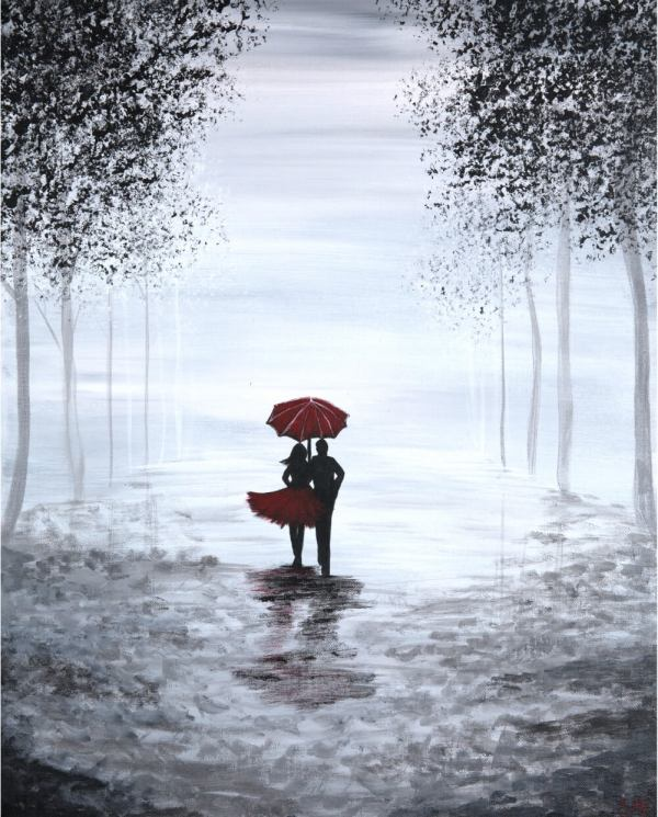 black and white acrylic painting of a couple with red umbrella