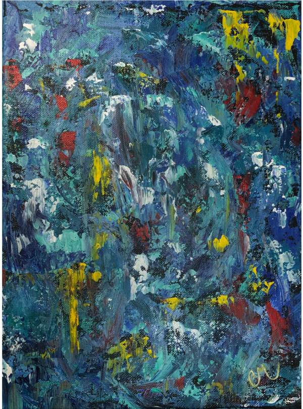 acrylic painting blue abstract with yellow and red