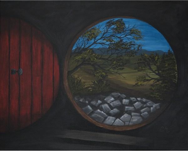 acrylic painting of of a hobbit looking round door
