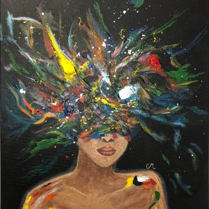 acrylic painting of a girl with colours instead of a head