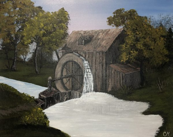 The-Water-Wheel-Acrylic-Painting-by-Chelsey-Marchand