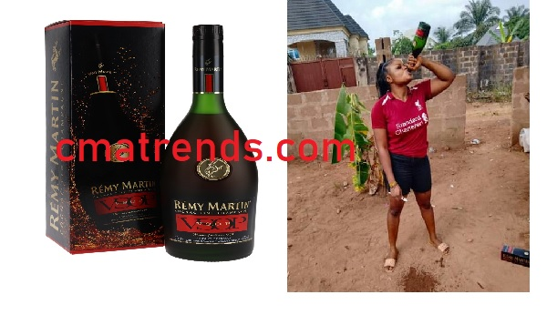 Nigerian Lady promises not to brush with water for the rest of the year but with a bottle of N28K Remy Martin VSOP