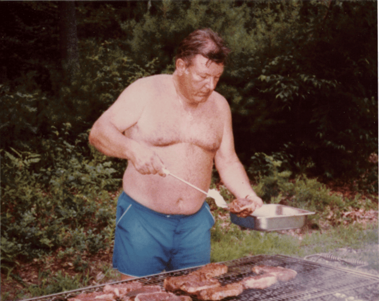 Chief Cudak cooking steaks summer cookout 1991
