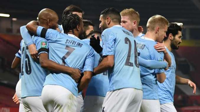 Manchester City celebrate at Old Trafford, Carabao Cup 2020-21