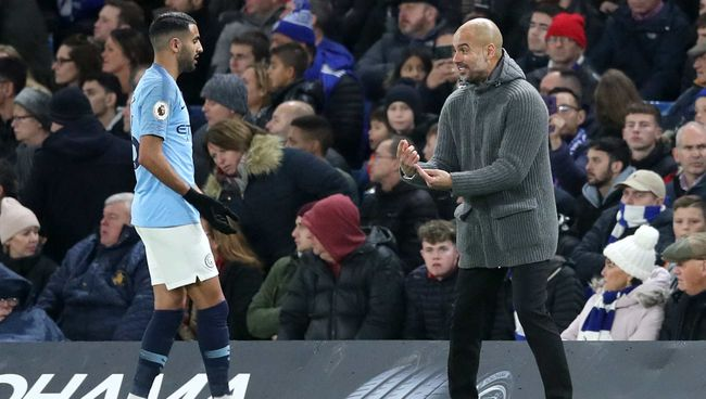 Pep Guardiola (right) knows exactly what he is going to get from Riyad Mahrez