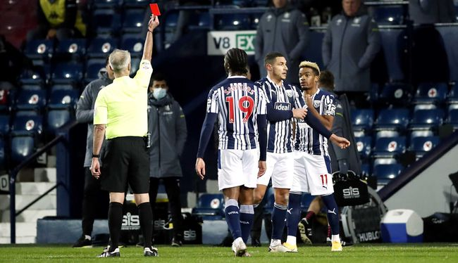 Jake Livermore was sent off for the Baggies in December's reverse fixture
