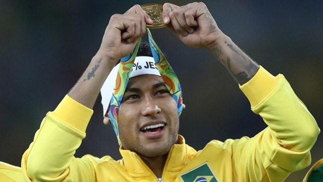 Neymar celebrates winning the gold medal at the 2016 Olympic Games in Rio.