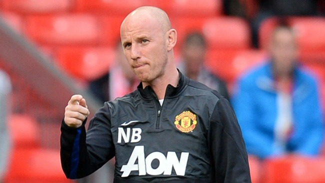 Nicky Butt while a coach at Man Utd