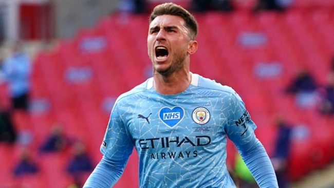 Manchester City's Aymeric Laporte celebrates his winner in the EFL Cup final