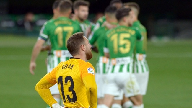 Jan Oblak was on top form for Atletico Madrid but could not stop Real Betis hitting back