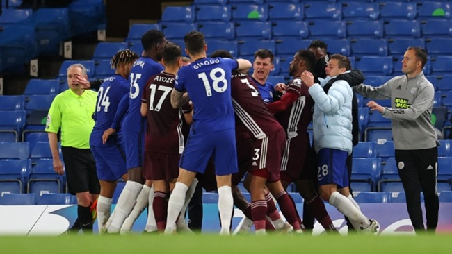 Chelsea and Leicester City's players clashed at the end of Tuesday's game