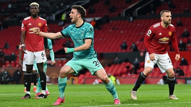 Diogo Jota celebrates Liverpool's first goal against Manchester United