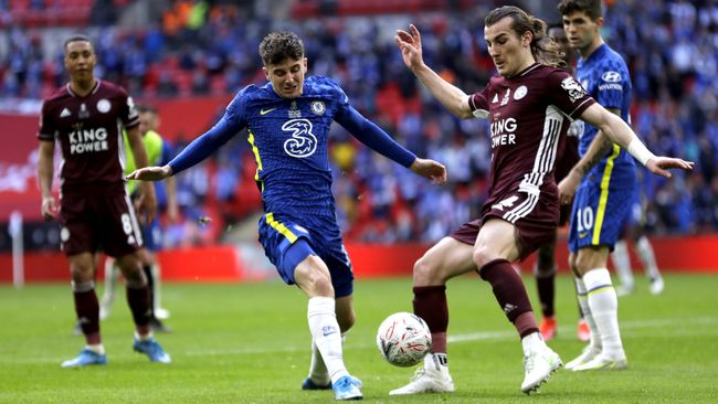 Mason Mount (left) and Caglar Soyuncu (right) will do battle again as Chelsea face Leicester